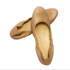 J. Crew Emma leather ballet flats beige